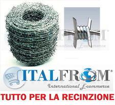 100 MT FILO SPINATO ZINCATO SPINOSO  FILO 1,8 mm PER RECINZIONE RETE METALLICA