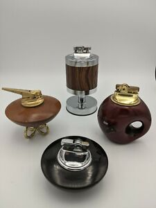 4 VINTAGE Table Top Lighters Lot: Retro, Space Age, Mad Men, Mid Century, Wood