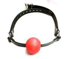 Red Ball Mouth Gag Yoke Genuine leather LOCKABLE locking Choker ADULT collar