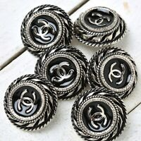 Chanel Buttons 6pc CC Silver 22.5mm Vintage Style 6 Buttons unstamped AUTH!!!