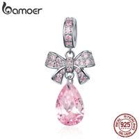 BAMOER Nice 925 Sterling silver Charm Pink bowknot & CZ For DIY Bracelet Jewlery