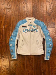 ICON Outlaw Kitty Leather Motorcycle Moto Street Racing Jacket Blue/White Small