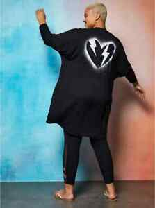 NWT Torrid 3 (3X) Black Lovesick Lightning Bolt Heart Drapey Front Kimono Duster