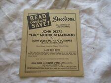 1946 John Deere no 12-A combine operator's set up directions manual