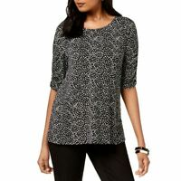 ALFANI NEW Women's Black Printed Speckle Ruched-sleeve Casual Shirt Top L TEDO