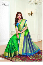 Indian Bollywood Style Designer Saree Wedding Fancy Wear Pure Silk Ethnic Sari S