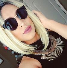 Round Cat Eye Women Sunglasses Retro Vintage Fashion Circle Black Gold