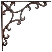 Ornate Fleur De Lis Wall Shelf Bracket Cast Iron Brace