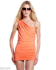 NWT $314 Michael Kors Draped One-Shoulder Swimdress Ruched 6 Grecian Swimsuit