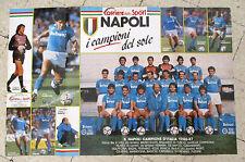 IL POSTER DEL NAPOLI CAMPIONE D'ITALIA 1986 - 87 ORIGINALE Corriere dello Sport