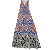 Anthropologie Maeve Silk Medallion Maxi Dress Sz 2 Blue Moroccan Print