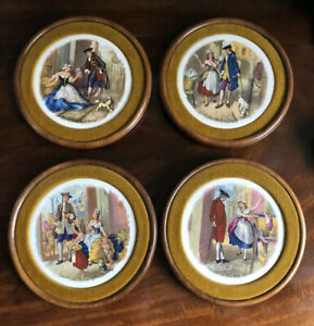 Set Of 4 Cries Of London Vintage Wall Plates Isaac Ellewood Wooden Holder