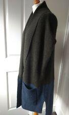 Jigsaw Chunky Knit Long Cardigan Khaki Green Blue Alpaca Wool S M 12 14 16 UK