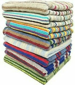 100% Cotton Striped Towels size 27 x 54 Great Quality Towels use- Bath and Beach