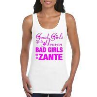 Zante Girls Women's Ladies Tank Top Vest T Shirt White / Neon Pink
