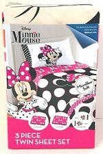 New Disney Minnie Mouse 3 Piece Twin Sheet Set Bedding