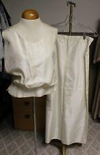 Vtg 60s Ivory Silk Embroidered Top Long Formal Skirt Wedding Dress Suit