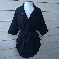Eryn Brinie Black Trench Coat Jacket Corduroy Ribbed Women's Belted Pockets Sz S