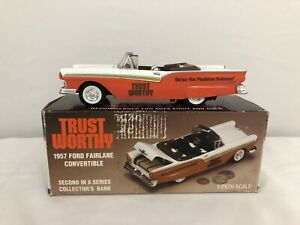 Liberty Trust Worthy 1957 FORD FAIRLANE 500 CONVERTIBLE 1/25 diecast bank L32