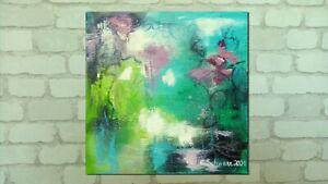 REFLECTIONS 29x29cm abstrakt Wandbild Kunst grün Bild Glitter Christiane Schwarz
