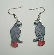 African Grey Parrot Bird Earrings Handcrafted Plastic Made in USA