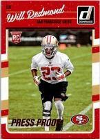 2016 Donruss Press Proofs Red Football Card #347 Will Redmond 49ers