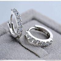Women Jewelry White Gemstones Crystal Silver Hoop Earrings Fashion