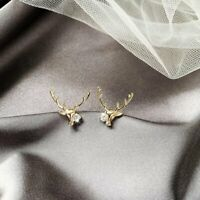 925 Silver Cute Antlers Elk Crystal Earrings Ear Stud Women Jewellery Xmas Gifts