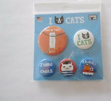 I LOVE CATS BUTTON PINS HANG IN THERE SET OF 5 HELPS VET FERAL CATS RESCUE