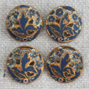 4 Antique Victorian Enamel Painted Floral Brass Pierced Openwork Picture Buttons