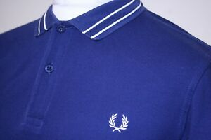 Fred Perry Tramline Tipped Polo Shirt - L - Blue/White - Mod 80s Casuals Ska Top