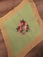 Vintage Bucilla-Diamond Shaped-Floral Needlepoint-Lt Green Background-FREE SHIP!
