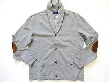 New Ralph Lauren Purple Label Suede Trim Pima Cotton Blend Fleece Cardigan sz L