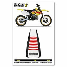 1999-2000 SUZUKI RM 125-250 Black/White/Red RIBBED SEAT COVER BY Enjoy MFG