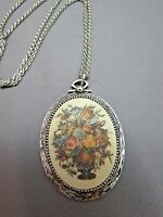 "VTG Sarah Coventry Pendant Necklace 1973 Tapestry Flower Basket 24"" Rope Chain"
