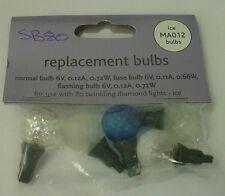 4 Clear/Blue Diamond Ball Replacement Bulbs 6v 0.12a 0.72w & 1 Fuse Bulb (SB80)