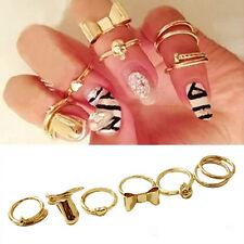 7Pc Vogue Gold Skull Bowknot Heart Design Simple Nail Band Mid Finger Ring Set