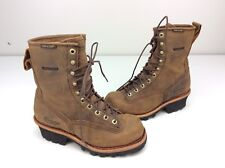 """Chippewa Men's 8"""" Logger 73100 Waterproof Lace To Toe Boot Bay Apache Brown 7 D"""