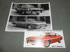 1974 AMC MATADOR COUPE ORIGINAL BROCHURE / 74 CATALOG + 8 x 10 PRESS PHOTO 2-4-1
