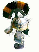 Roman Centurion Helmet (black and natural plume) re-enactment / larp / role-play