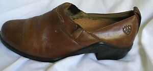 Ariat Brown Leather Upper Shoes Booties Rubber Heel 8B Elastic Slip On Ankle
