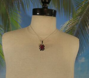 """Silver Chain Necklace with a Red Bead Pendant 16"""" Marked SAQ { AVON }"""