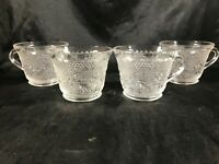 Set of 4 Vintage Anchor Hocking Clear Sandwich Glass Cups