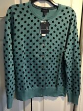 Lands' End blue and navy polka dot cardigan sweater Size Large cotton CAREER