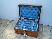 LOVELY 19C FIGURED WALNUT INLAID ANTIQUE JEWELLERY BOX - FAB INTERIOR