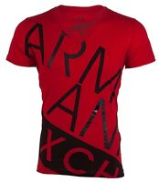 Armani Exchange BIAS Mens Designer T-SHIRT Premium RED BLACK Slim Fit  $45 NWT