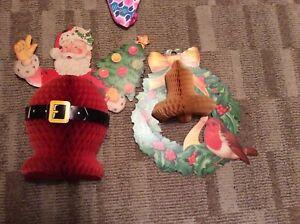 3 Vintage 1960s Christmas Decorations - Paper Honeycomb Decorations