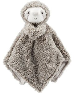 NWT Carters Plush Stuffed Animal Sloth Gray Soft Security Blanket Lovey New