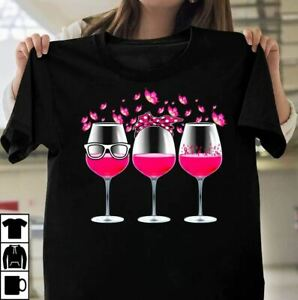 Pink Ribbon Wine Glass Butterfly Breast Cancer Awareness T-Shirt