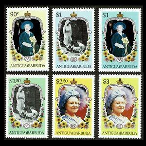 HuskyStamps ~ Antigua & Barbuda #866A-869A, set of 6, MNH, Queen Mother, 5 pics